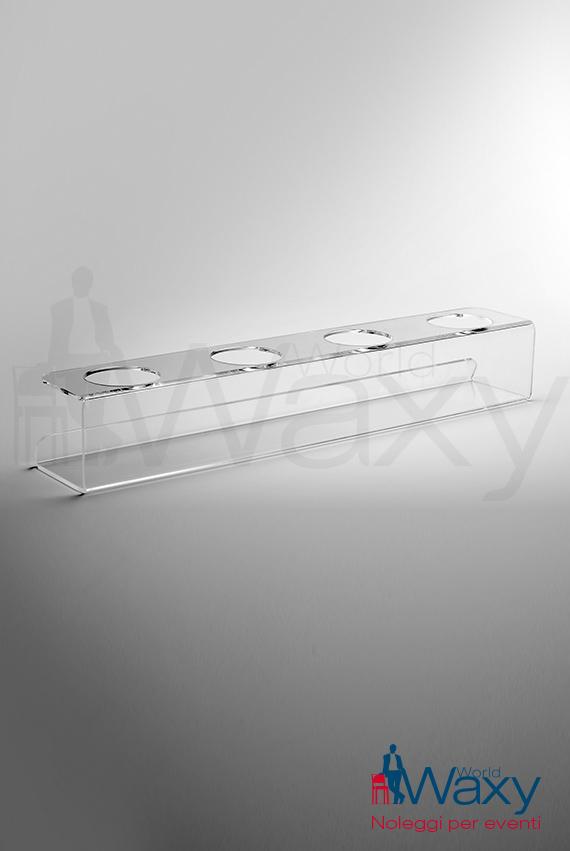 PLEXY: alzatina plexiglass rettangolare 4 posti
