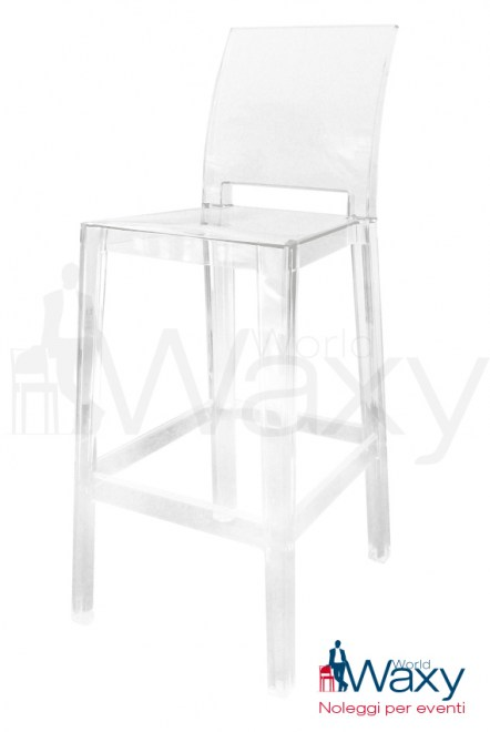 sgabello kartell h. 75 cm. mod. One More Please in policarbonato trasparente